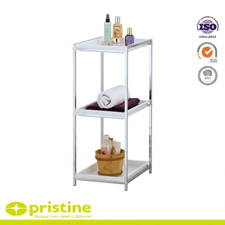 3 Tier Chrome Bathroom Storage Unit White Plastic Tray Shelf - A perfect bathroom shelf with 3 tier space.