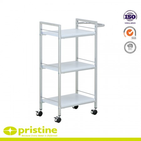 Multi-Purpose Wood Cart with Chrome Handles - The Multi-Purpose Wood Cart with Chrome Handles