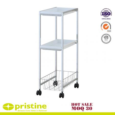 2-PP Tray Trolley with 1-Wire Baseket - 3-Tiers capacity design and well construction