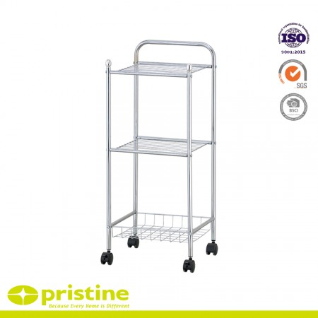 2-Wire Shelf Trolley with 1-Wire Baseket - The 3 shelf utility / service cart is constructed with sturdy chrome plated steel for strength and durability.