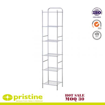 6-Tier Metal Tower Bathroom Shelf - 6-Tier Tower Shelf with a chrome finish