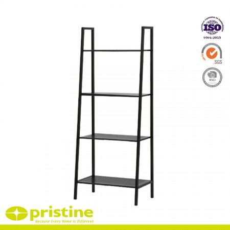 New Black 4-Tier Metal Shelving - The frame is constructed of steel tube with powder coating finish