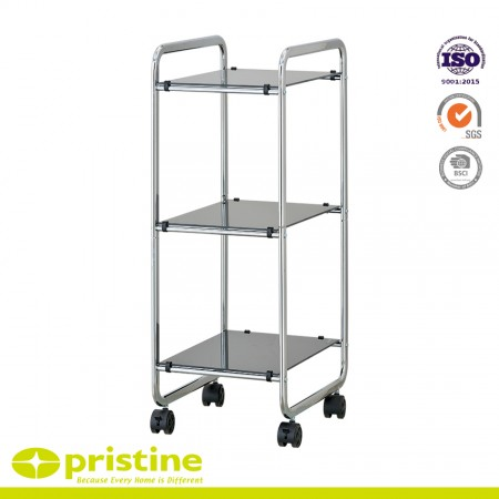 3 Tier Shelf Trolley with Black Glass - 3-Shelf utility service car