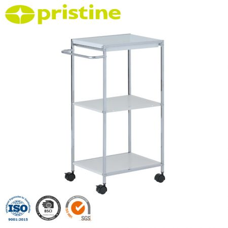 1-PP Tray Trolley with 2-Metal Shelf - Easily rolling around by four sturdy casters.