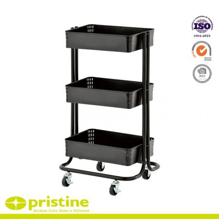 3-Tier Shelf Trolley - The utility cart's baskets are roomy enough to hold a lot of stuff