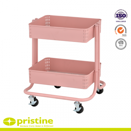 2-Tier Metal Utility Rolling Cart - It is made of high quality steel and has the feature of anti-rust
