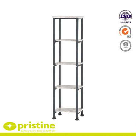 5-Shelf Bathroom Storage Tower with Liner - Free standing marble pattern linen tower shelf