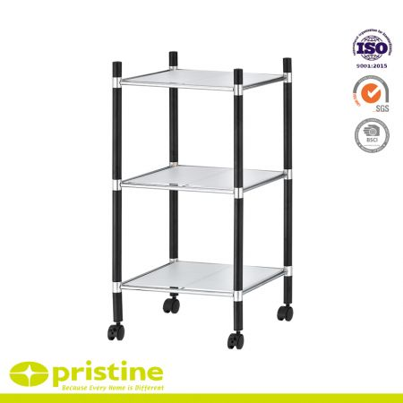 3-Tier Chrome Freestanding Bathroom Shelf Unit on 4'' Wheel Casters - Bathroom storage shelf with 3-tiers and shelving liners