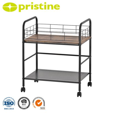 2-Tier Storage Rolling Utility Cart