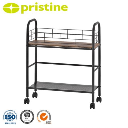 2-Tier Storage Rolling Utility Cart - It can be widely used for bathroom, living room, kitchen, bed room, office and more.