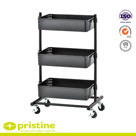 3-Tier Metal Storage Cart with Adjustable Shelves - Durable metal frame with power-coated surface, robust and rust-free