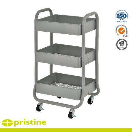 Metal Shelf Rolling Carts - Features 3 shelves with metal mesh bottoms for breathability