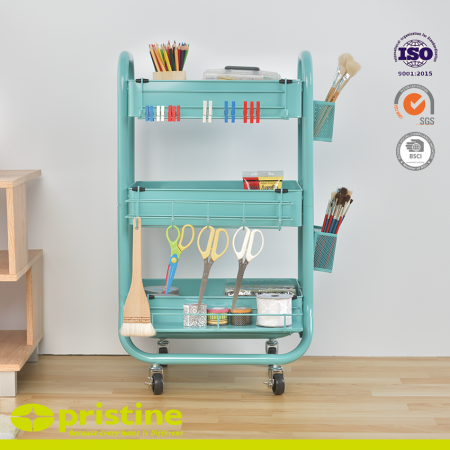 Metal Shelf Rolling Carts with Accessaries - Ideal storage solution for anywhere