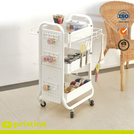 Metal Shelf Rolling Carts with Accessaries - Extra pegboard design with removable hooks and baskets which can provide you more storage options to save the space