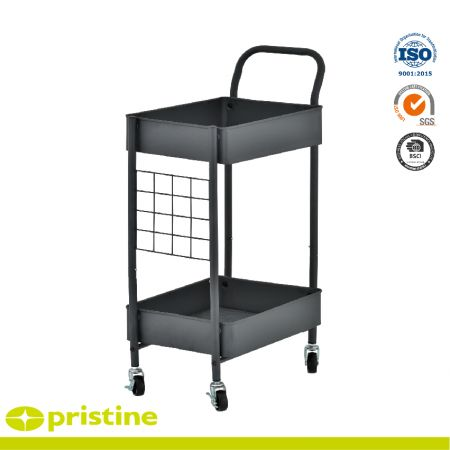 Service Cart with 2-Metal Basket - Space-saving size but with much more storage room