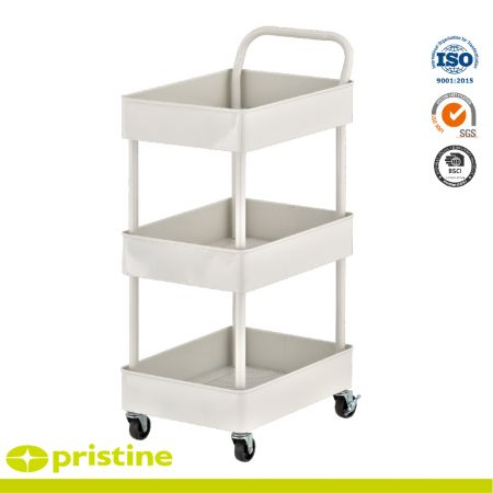 Service Cart with 3-Metal Basket