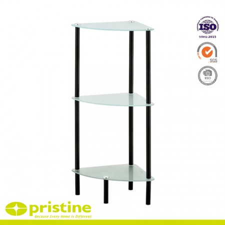 Floor Standing Towel Stand with 3 U-Shaped Arms - Chrome plated 3 tier corner glass shelf unit