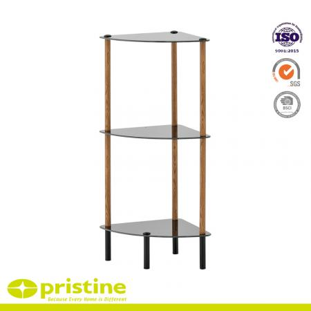 3-Tier Black Glass Corner Shelf with Wood Grain - Simple stylish design yet functional and suitable for any room