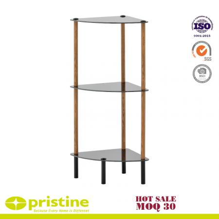 Étagère d'angle en verre noir à 3 niveaux avec grain de bois - Design simple et élégant mais fonctionnel et adapté à n'importe quelle pièce