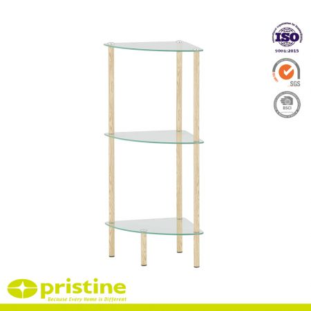 3-Tier Clear Glass Corner Shelf with Wood Grain - Claim more space from unused corners with our three-sided glass corner shelf.