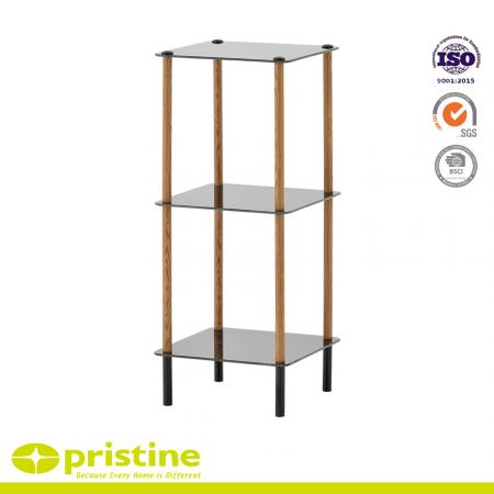 3-Tier Black Glass Shelf with Wood Grain - Glass storage shelf