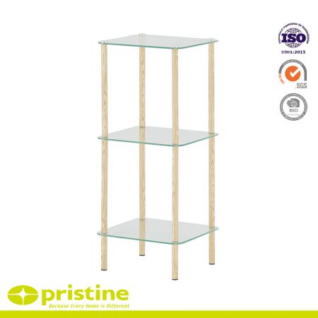 3-Tier Tempered Glass Shelf with Wood Grain - Glass storage shelf