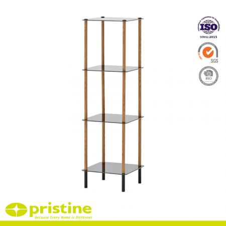 4-Tier Black Glass Shelf with Wood Grain - Modern 4 shelf unit / display cabinet with black glass shelves and silver powder coating legs