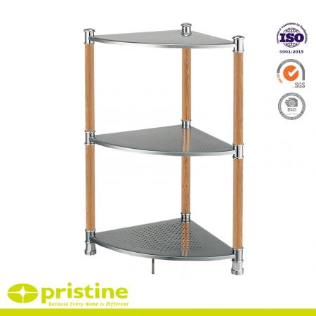 3-Tier Metal Corner Shelf  with Wood Grain - Helps organize items in your bathroom or kitchen