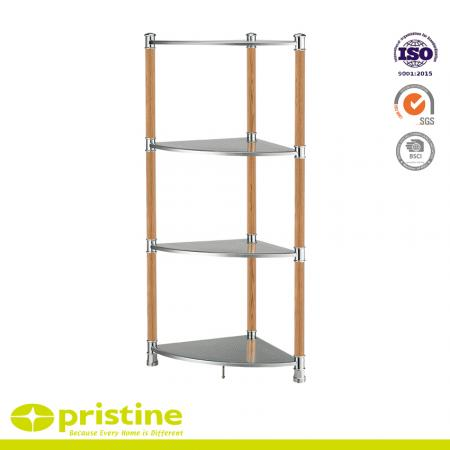 4-Tier Metal Board Corner Shelf with Wood Grain - This unit with 4 shelves creates more space in any corner of your place and provides roomy storage area to keep odds and ends, kitchen supplies, bathroom essentials, decorative elements, linens and more