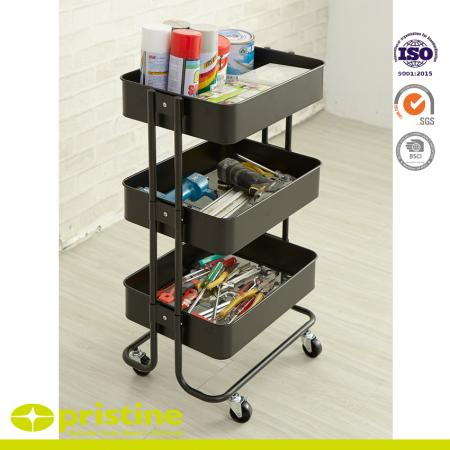 3-Tier Storage Cart - 3-tier green rolling storage cart