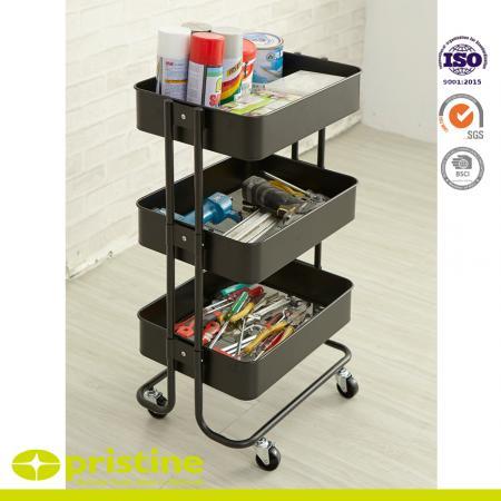 3 Tier Storage Cart - 3 tier green rolling storage cart.