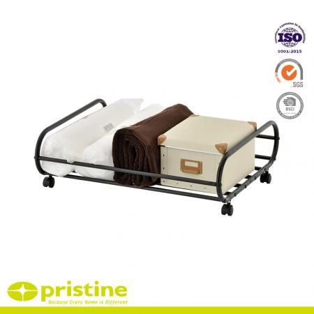 Rolling Underbed Storage Cart - Metal rolling underbed storage shelf.