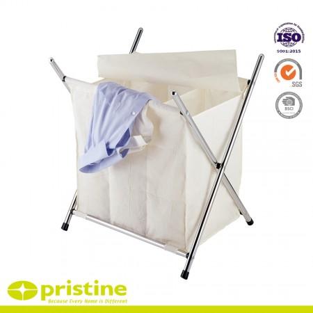 Folding Laundry Basket Sorter with Iron X-Frame