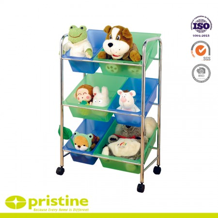 Plastic Toy Storage Cart with Removable Bins - 6 PLASTIC BIN ROLLING CART- Keep supplies, toys, and books organized and secure using plastic storage bins -Perfect for playrooms, classrooms, bedrooms, storage rooms, basements, office spaces, and much more