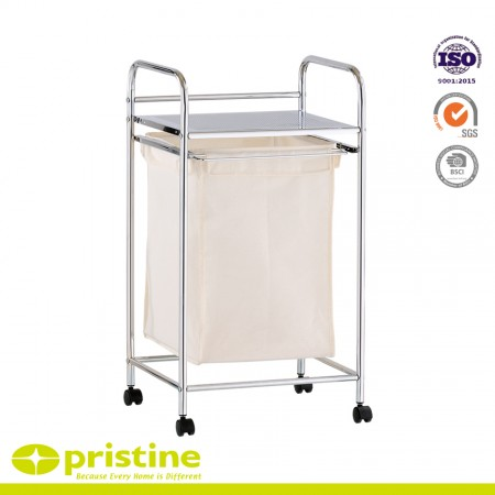 Chrome Laundry Basket Trolley with 1 Metal Shelf - Laundry room storage includes rolling carts