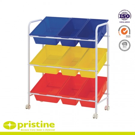 Plastic Storage Cart With Removable Bins - 9 PLASTIC BIN ROLLING CART- Keep supplies, toys, and books organized and secure using plastic storage bins -Perfect for playrooms, classrooms, bedrooms, storage rooms, basements, office spaces, and much more
