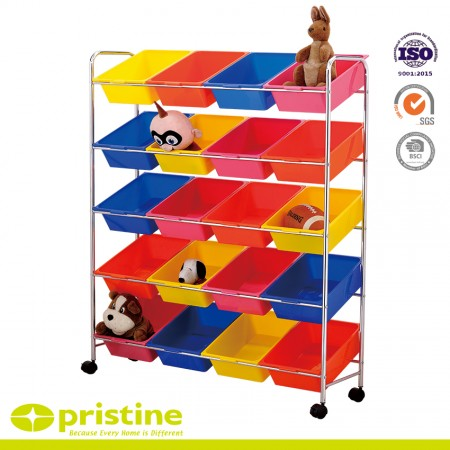 20 Bin Toy Storage Cart - Keep supplies, toys, and books organized and secure using plastic storage bins