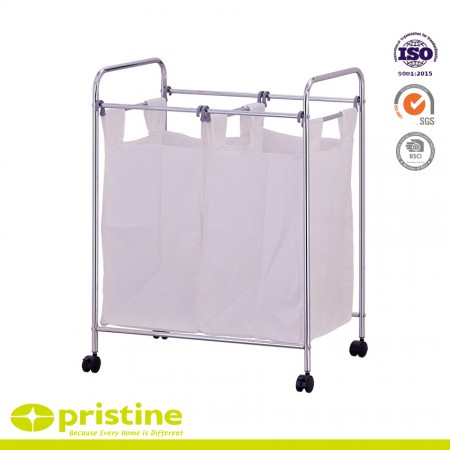 Laundry Sorter with 2 Removable Bags - Rolling double laundry hamper