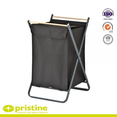 Folding X-Frame Laundry Sorter Hamper, Wood - Laundry Washing Basket Sorter