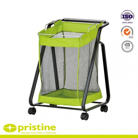 Laundry Trolley with Green Removable Bag - Multifunctional Laundry Cart