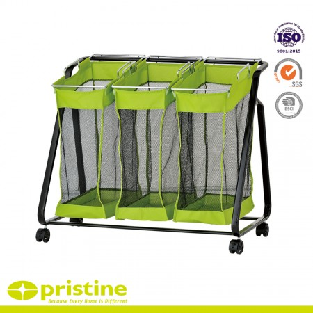 Laundry Rolling Hampers with 3 Green Removable Bags - Rolling Hamper cart organizer basket
