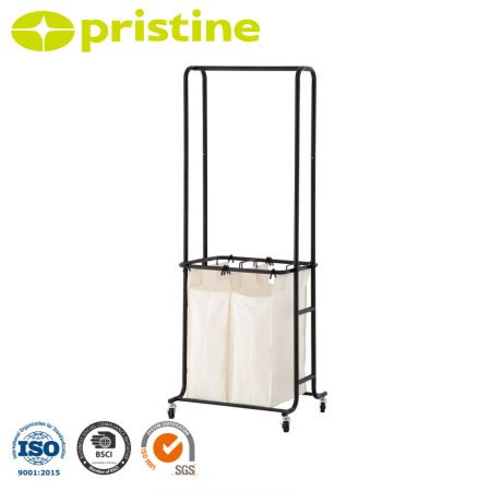 Mobile Laundry Hamper Sorter Cart with Clothes Rack