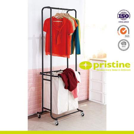 Mobile Laundry Hamper Sorter Cart with Clothes Rack - This laundry cart features an removable hanging bar for extra storage of hanging clothes or towels.