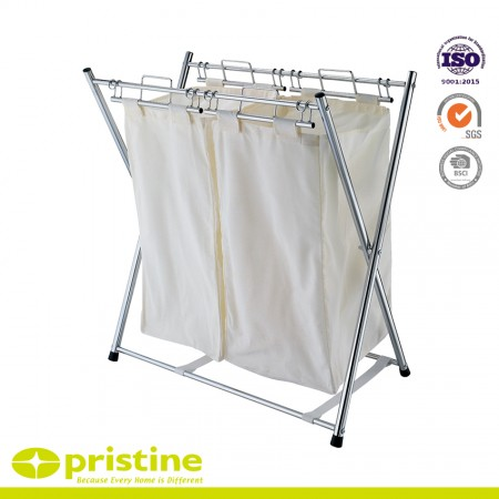 Foldable Sorter Cart with 2 Removable Bags - 2 Compartment steel frame laundry basket