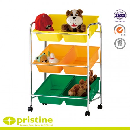 6 bins toy storage cart