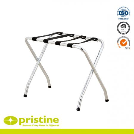 Metal Folding Chrome Luggage Rack - High Back bar for small and large suitcases
