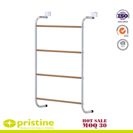 Over The Door Towel Rack with Wood Grain