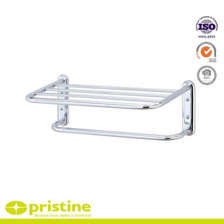 Single Tier Chrome Bathroom Shelf Rack with Towel Rail