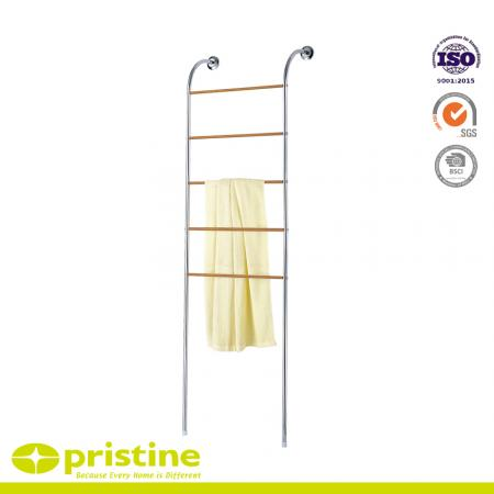 Wall Mounted Standing Towel Ladder Rack With Wood Grain - towel rack stand