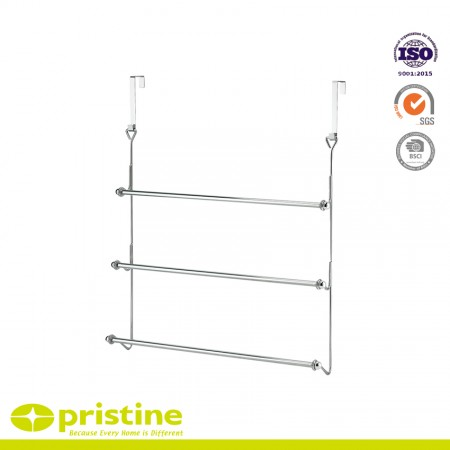 Over The Door 3 Bar Towel Rack - 3 sturdy bars with 2 hooks for hanging space